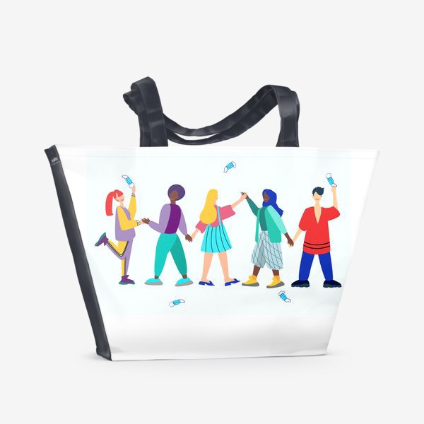 Пляжная сумка «Люди разных национальностей бросают маски. Люди праздную окончание пандемии Короновируса.»