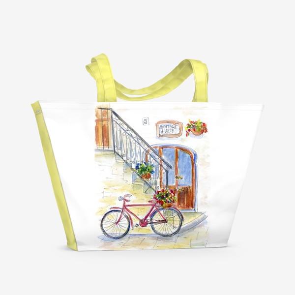 Пляжная сумка «Цветочный велосипед»