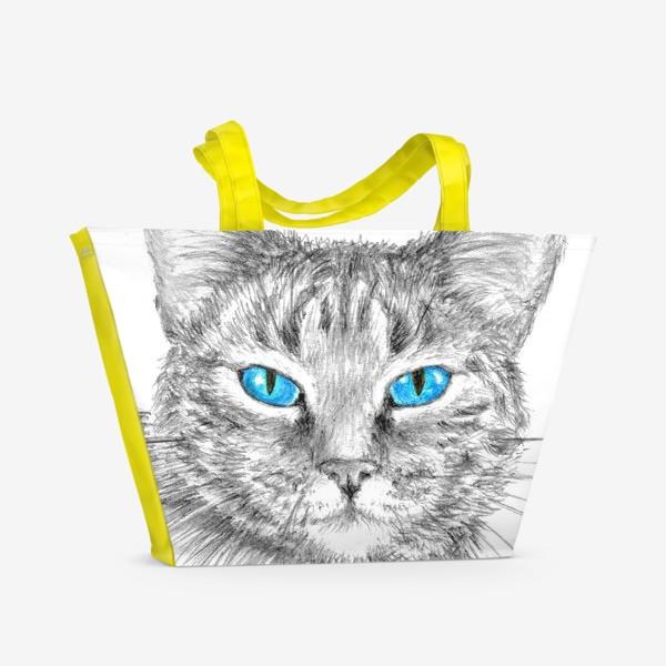 Пляжная сумка «Кот. Голубые глазки.»