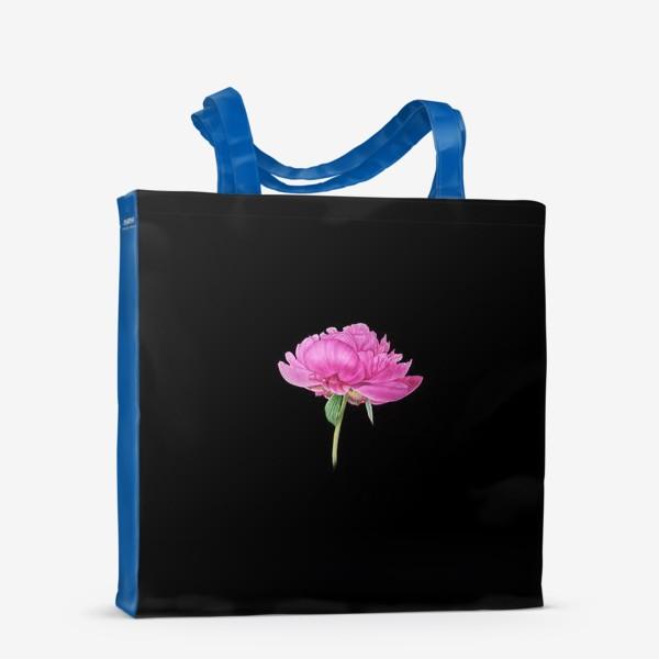 Сумка-шоппер «Розовый пион на черном фоне»