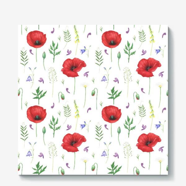 Холст «Луговые цветы: маки, ромашки, колокольчики»