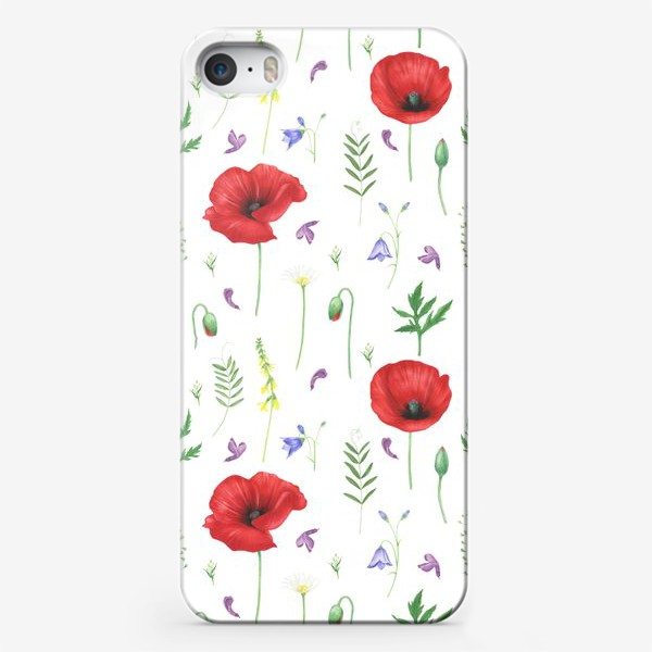 Чехол iPhone «Луговые цветы: маки, ромашки, колокольчики»