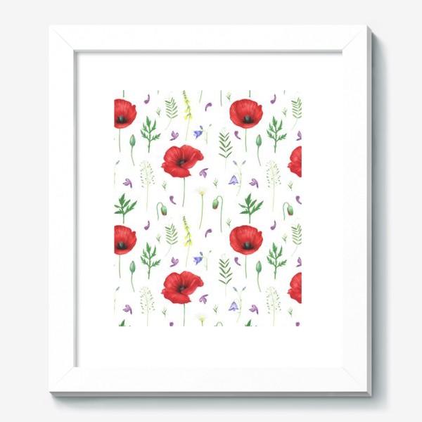 Картина «Луговые цветы: маки, ромашки, колокольчики»