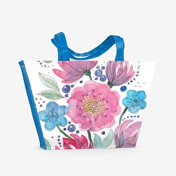 Пляжная сумка «Акварельные цветы»