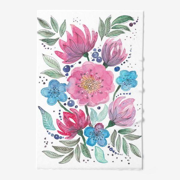Полотенце «Акварельные цветы»