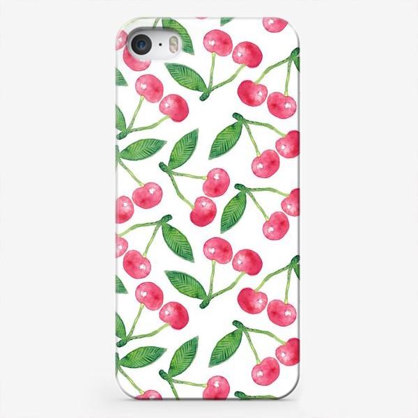 Чехол iPhone «Вишня, акварельный паттерн»