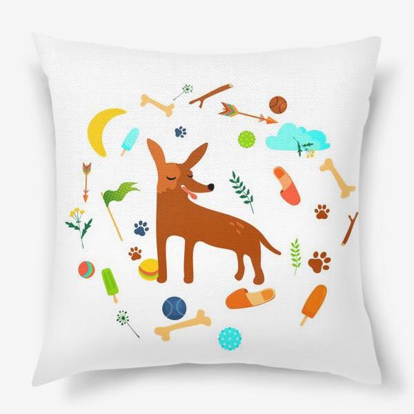 Подушка «Рыжая собачка в кругу своих любимых штук »
