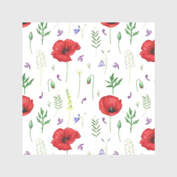 Скатерть «Луговые цветы: маки, ромашки, колокольчики»