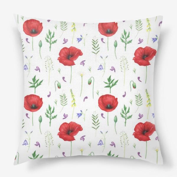 Подушка «Луговые цветы: маки, ромашки, колокольчики»