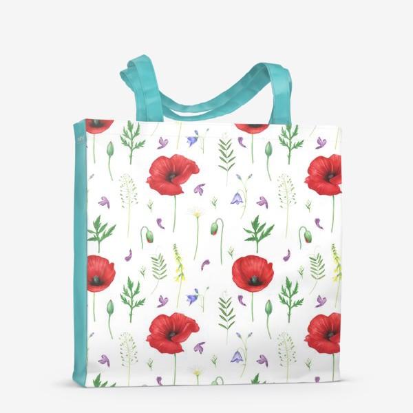 Сумка-шоппер «Луговые цветы: маки, ромашки, колокольчики»