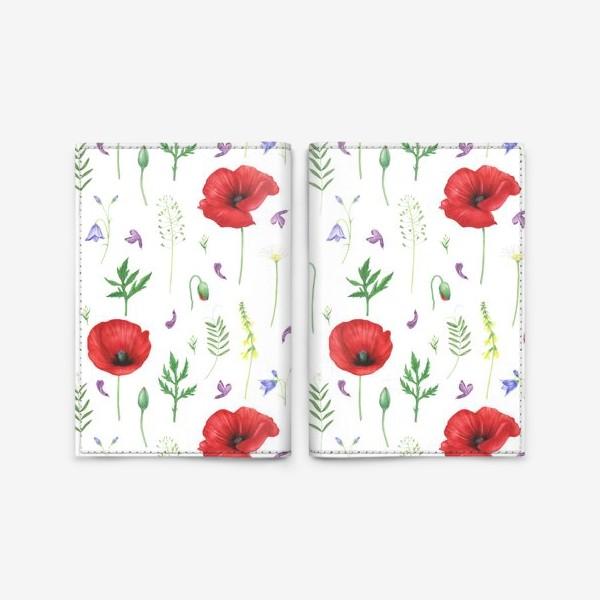 Обложка для паспорта «Луговые цветы: маки, ромашки, колокольчики»