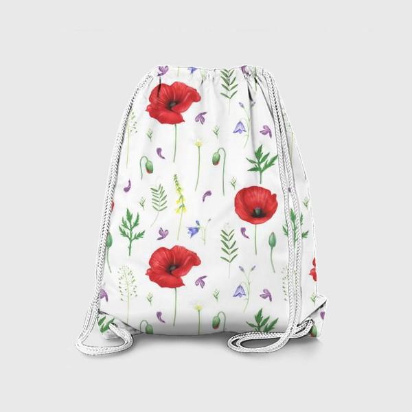 Рюкзак «Луговые цветы: маки, ромашки, колокольчики»