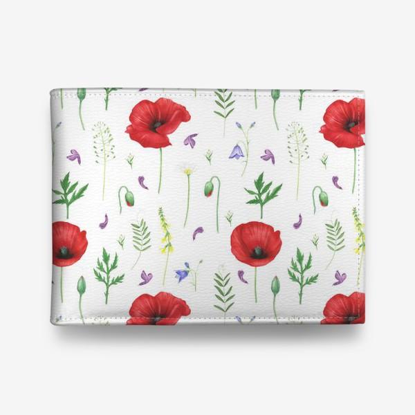 Кошелек «Луговые цветы: маки, ромашки, колокольчики»