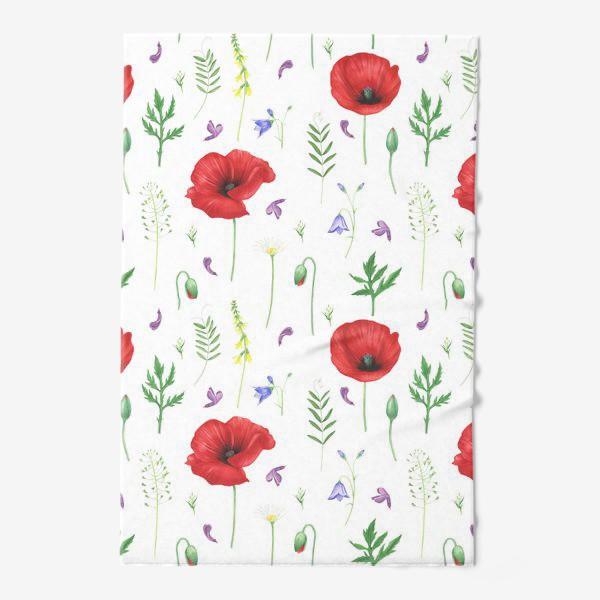 Полотенце «Луговые цветы: маки, ромашки, колокольчики»