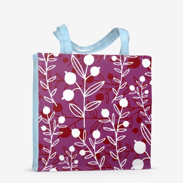 Сумка-шоппер «Растительный узор с ягодами»