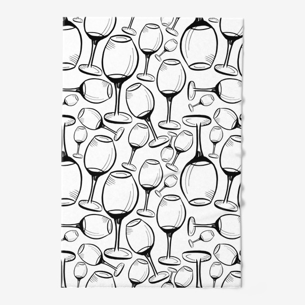 Полотенце «Чёрно-белый паттерн с бокалами»