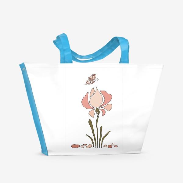 Пляжная сумка «Нежный цветок. Ирис.»