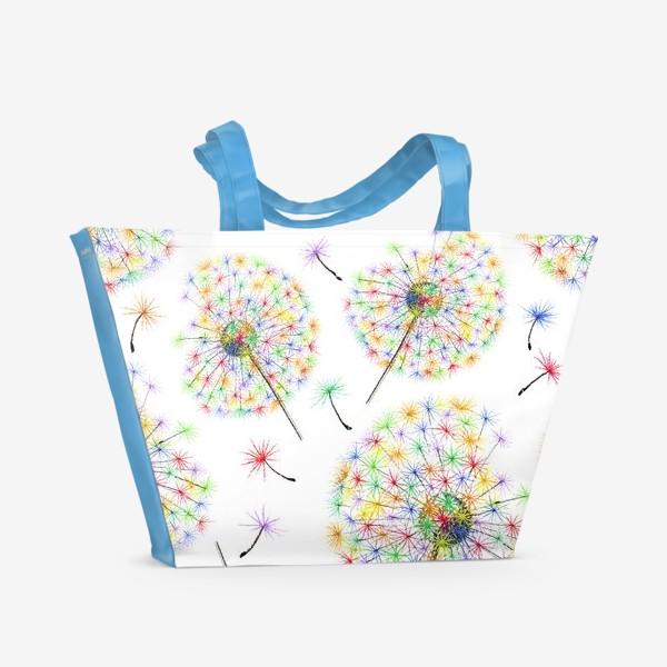 Пляжная сумка «Одуванчики-радуга»