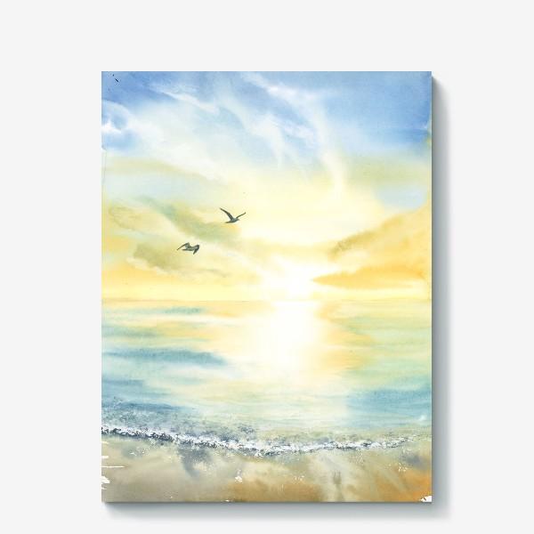 Холст «Побережье моря, чайки»