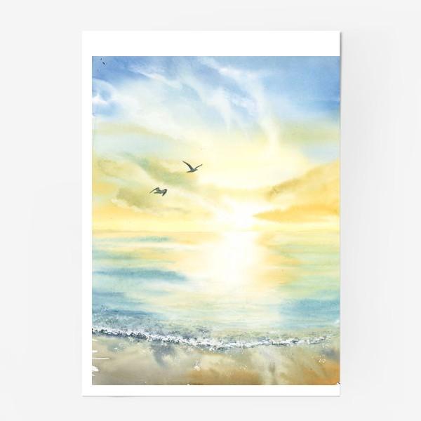 Постер «Побережье моря, чайки»