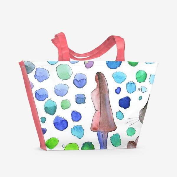 Пляжная сумка «Девушка. Кошка»