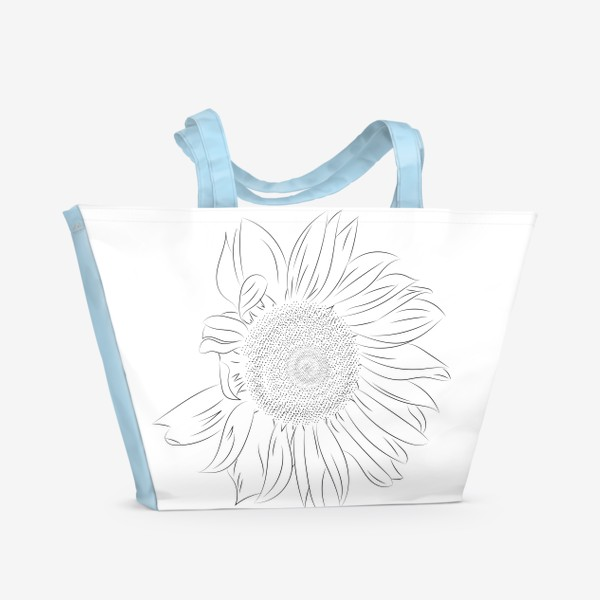 Пляжная сумка «Подсолнух. Монохромный ботанический скетч»