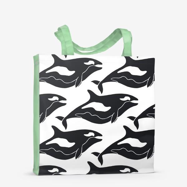 Сумка-шоппер «Черно-белые киты. Кoсатки »