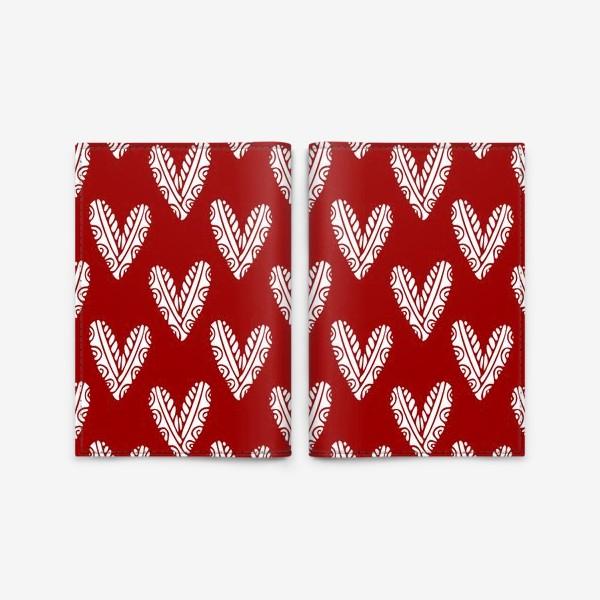 Обложка для паспорта «Сердечки. Сердца на красном фоне»