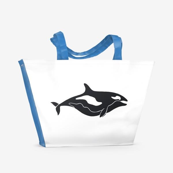 Пляжная сумка «Добрая Косатка. Черно-белый Кит»