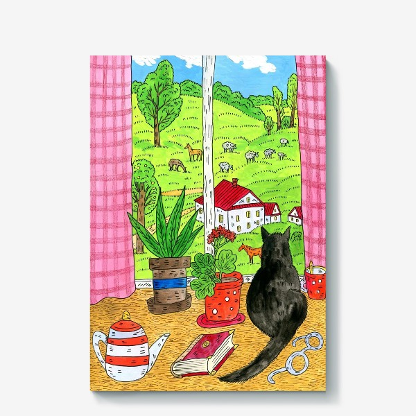 Холст «Чёрный кот у окна»