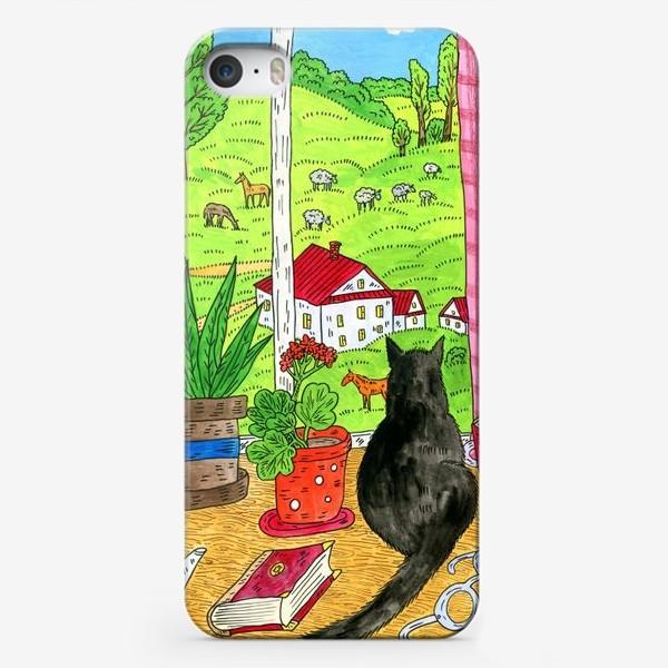 Чехол iPhone «Чёрный кот у окна»