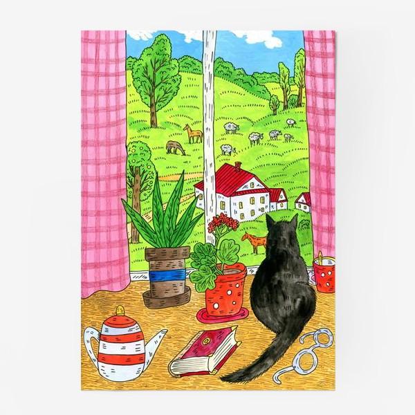 Постер «Чёрный кот у окна»