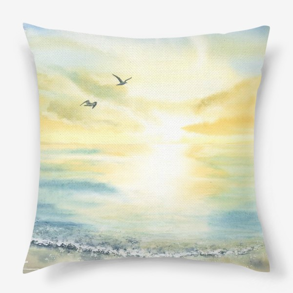 Подушка «Побережье моря, чайки»