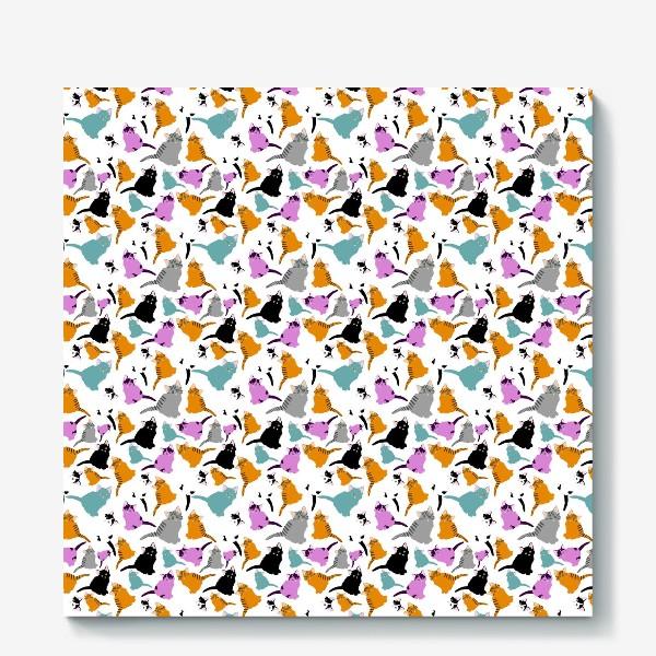 Холст «маленькие котята. Узор из разноцветных котов.»