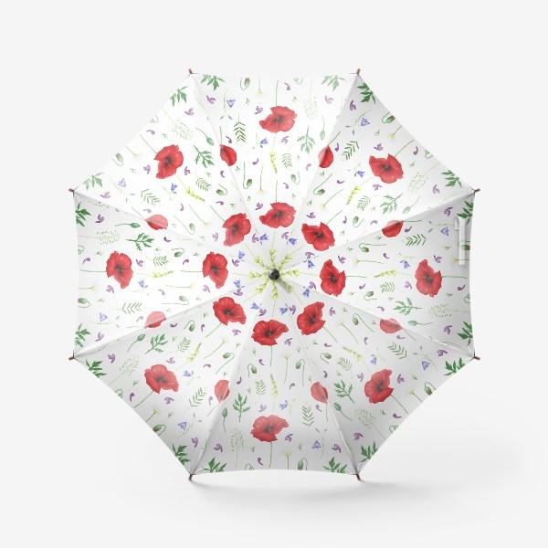Зонт «Луговые цветы: маки, ромашки, колокольчики»