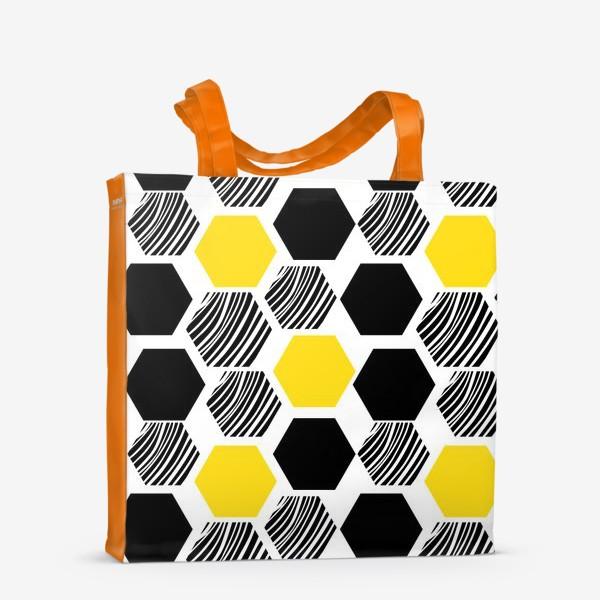 Сумка-шоппер «Узор с сотами. Геометрические шестигранники»