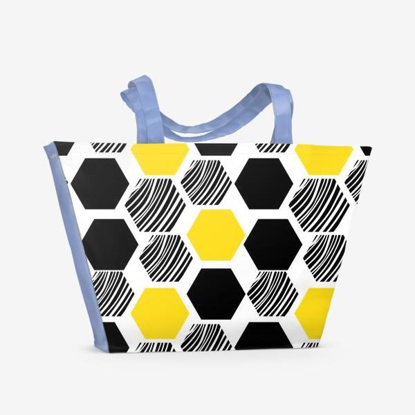 Пляжная сумка «Узор с сотами. Геометрические шестигранники»