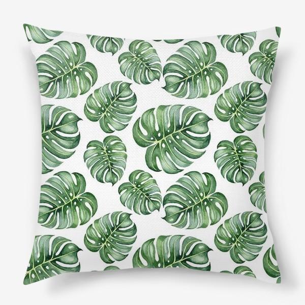 Подушка «Тропические экзотические листья, монстера»