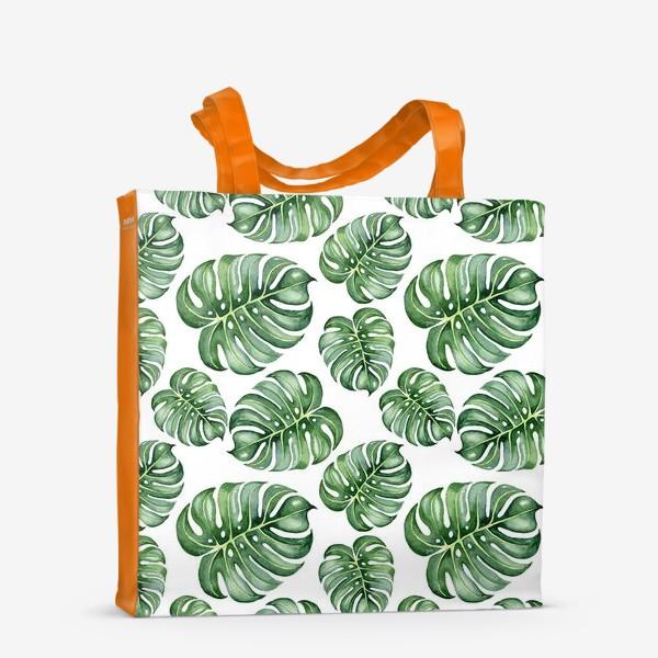 Сумка-шоппер «Тропические экзотические листья, монстера»