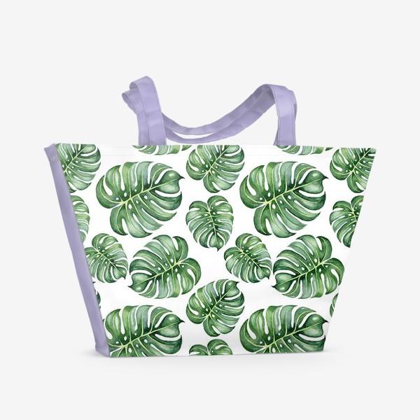 Пляжная сумка «Тропические экзотические листья, монстера»