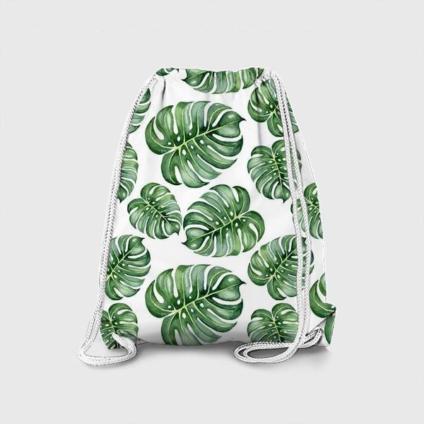 Рюкзак «Тропические экзотические листья, монстера»