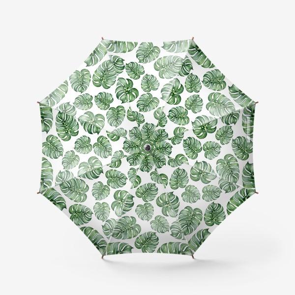 Зонт «Тропические экзотические листья, монстера»