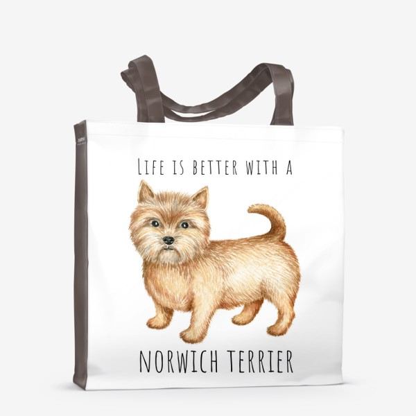 Сумка-шоппер «Норвич терьер, смешная собака»