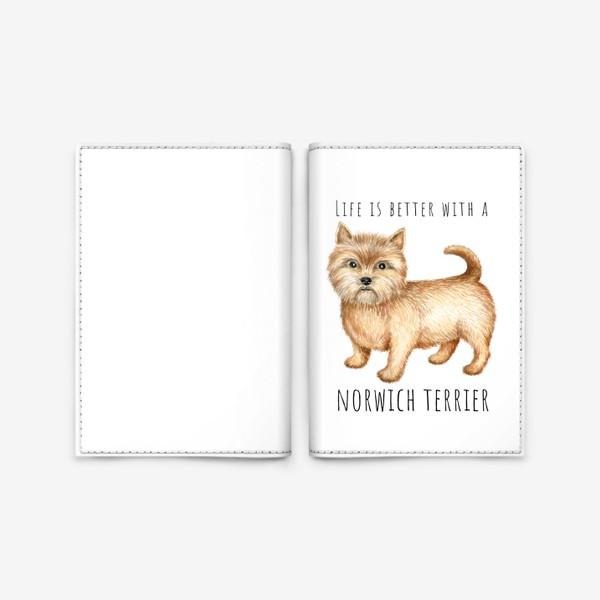 Обложка для паспорта «Норвич терьер, смешная собака»