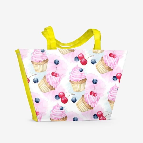 Пляжная сумка «Сладости и дессерты,паттерн»