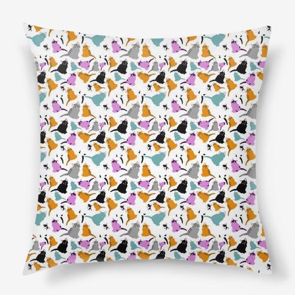 Подушка «маленькие котята. Узор из разноцветных котов.»