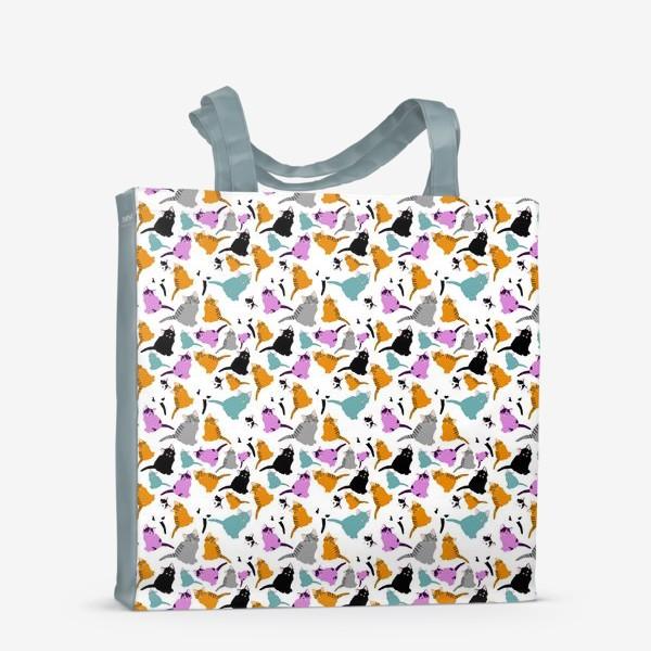 Сумка-шоппер «маленькие котята. Узор из разноцветных котов.»