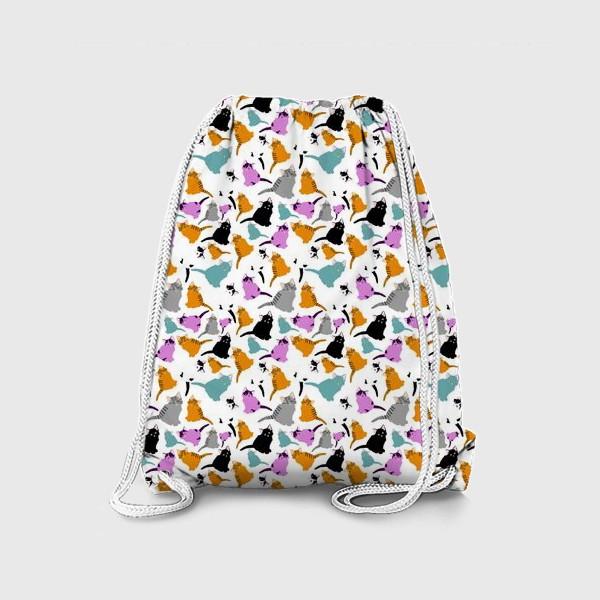 Рюкзак «маленькие котята. Узор из разноцветных котов.»
