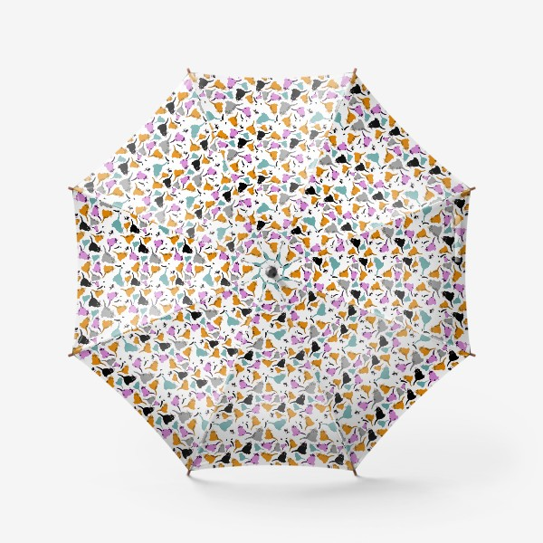 Зонт «маленькие котята. Узор из разноцветных котов.»