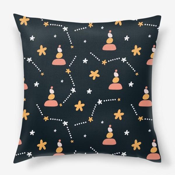 Подушка «темно синий паттерн  с узором неба и созвездий со стильными элементами»